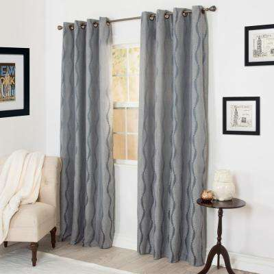 Semi-Opaque Angelina Gray Jacquard Curtain - 56 in. W x 84 in. L (1 Pair)