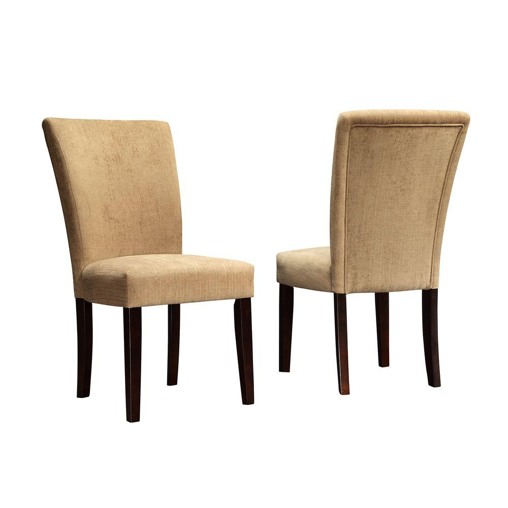 HomeSullivan Sommerland Chenille Parson Chair in Camel (Set of 2)-DISCONTINUED