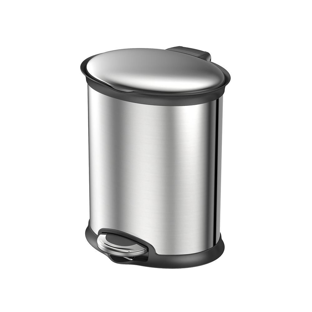 Household Essentials 1.58 Gal. Oval Indoor Trash Can in Stainless ...