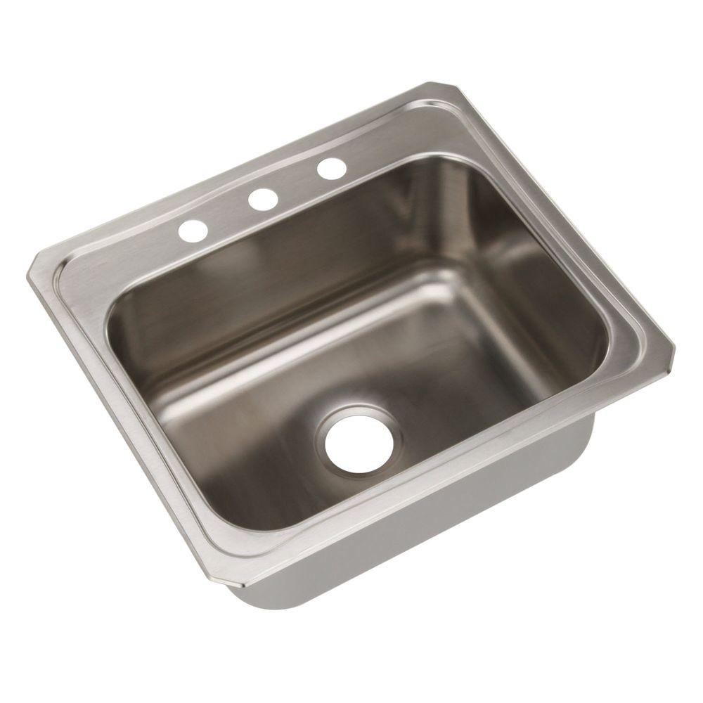 Elkay Pursuit Drop In Stainless Steel 25 In. 3 Hole Single Bowl Kitchen
