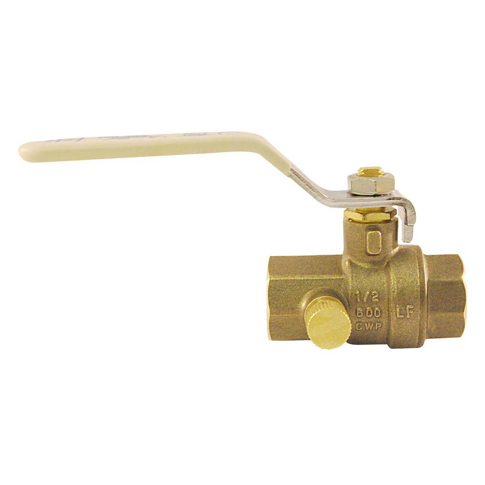 1/2 in. Brass Ball Valve with Waste NPT Full-Port