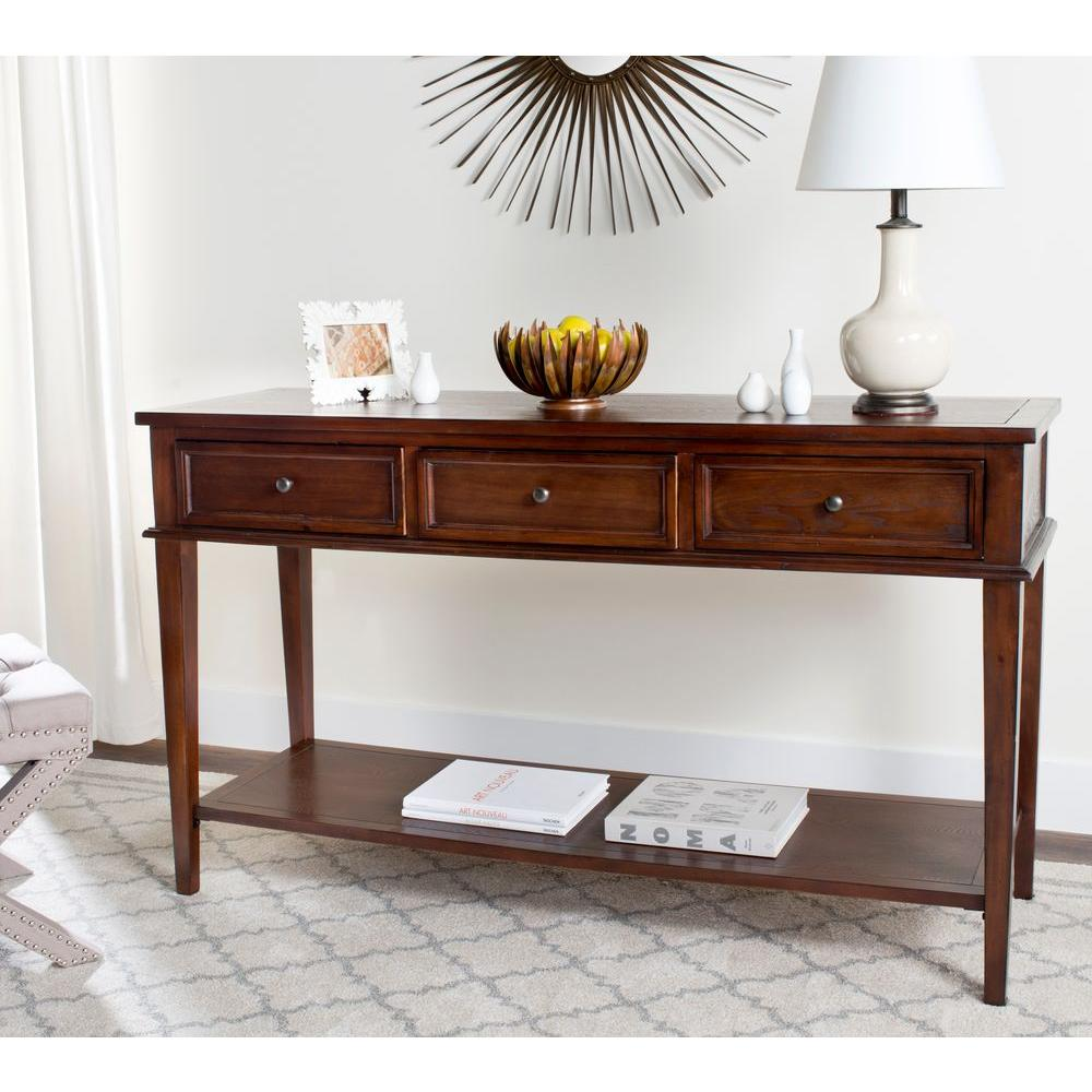 Safavieh Manelin Sepia Storage Console Table Amh6641a The Home Depot