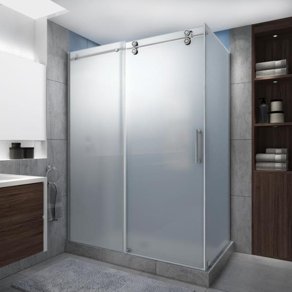 Langham XL 56-60 in. x 30 in. x 80 in. Sliding Frameless Shower Enclosure Ultra-Bright Frosted Glass in Polished Chrome