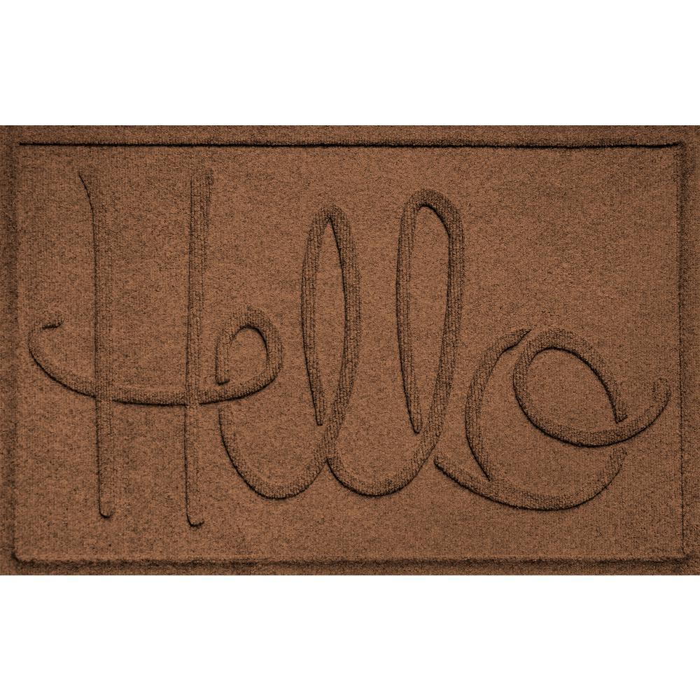Simple Hello Dark Brown 24 in. x 36 in. Polypropylene Door Mat