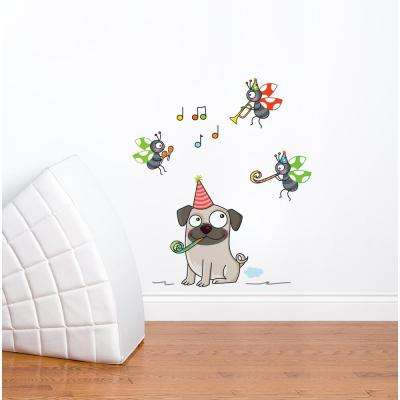 "20 in x 24 in. Multi-Color ""Chilling Pug"" Kids Wall Decal"