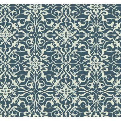 Navy and White Wrought Iron Wallpaper
