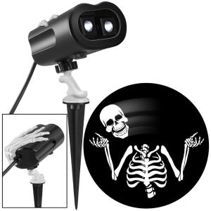 LightShow Halloween White Grimmotion Skeleton with Moving Head Lightshow Projection