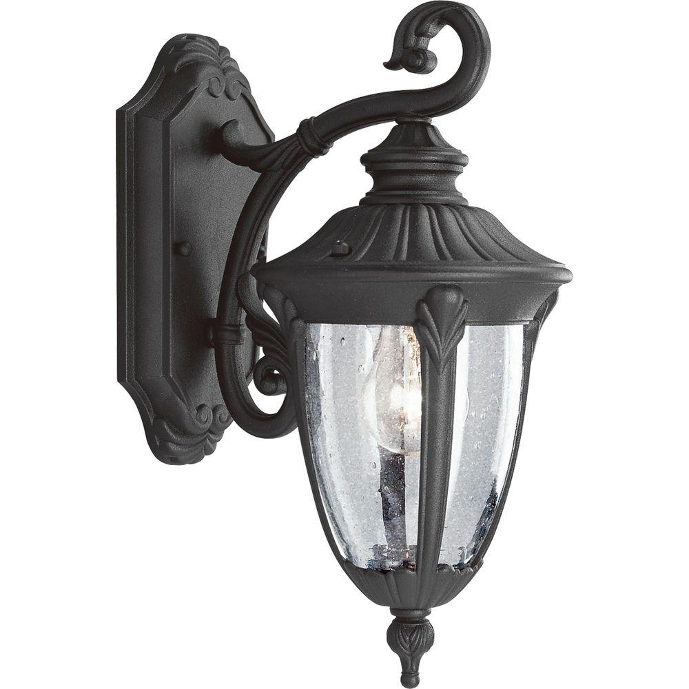 Progress Lighting Meridian Collection 1 Light 14 9 In Outdoor Textured Black Wall Lantern Sconce