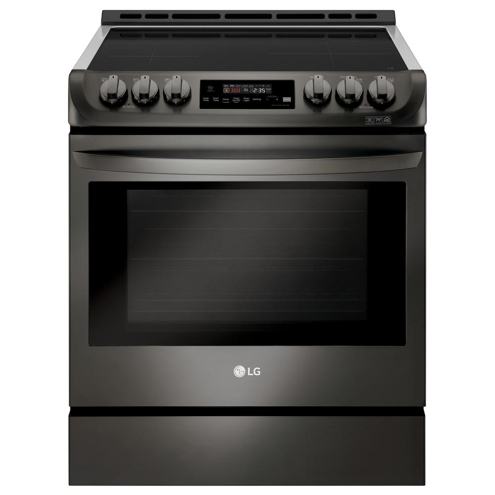 Slide In Electric Smart Range With Probake Convection Induction Self Clean Black Stainless Steel
