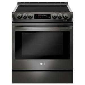 6.3 cu. ft. 30 in. Slide-In Electric Smart Range with ProBake Convection, Induction, Self Clean in Black Stainless Steel