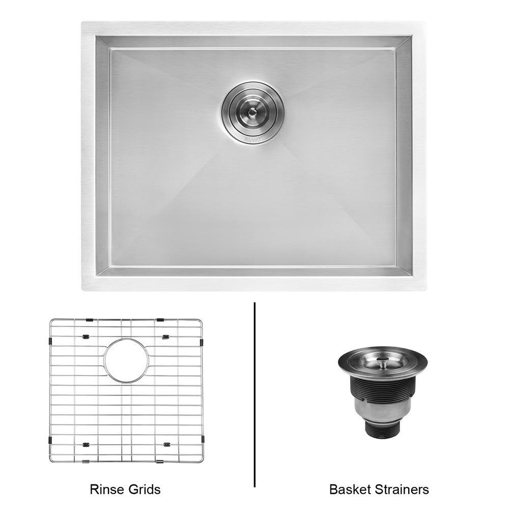 Ruvati 23 inch x 18 inch Single Bowl Undermount 16-Gauge Stainless Steel Laundry Utility Sink by Ruvati