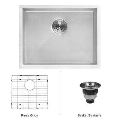 23 in. x 18 in. Single Bowl Undermount 16-Gauge Stainless Steel Laundry Utility Sink