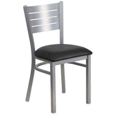 Hercules Series Silver Slat Back Metal Restaurant Chair with Black Vinyl Seat