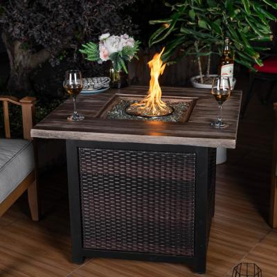 34 in. x 26 in. H 50,000 BTU Square PE Rattan Outdoor Propane Gas Fire Pit Table