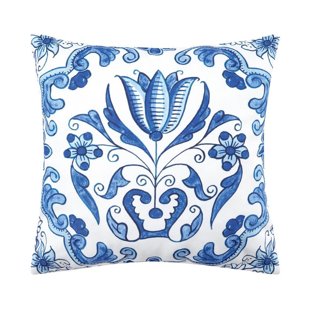 Blue Delft Garden 3 Indoor/Outdoor 18 in. x 18 in. Standard Throw Pillow