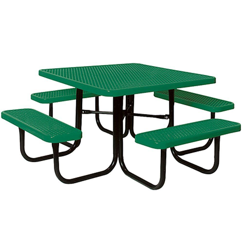 Portable Green Diamond Commercial Park Square Picnic Table
