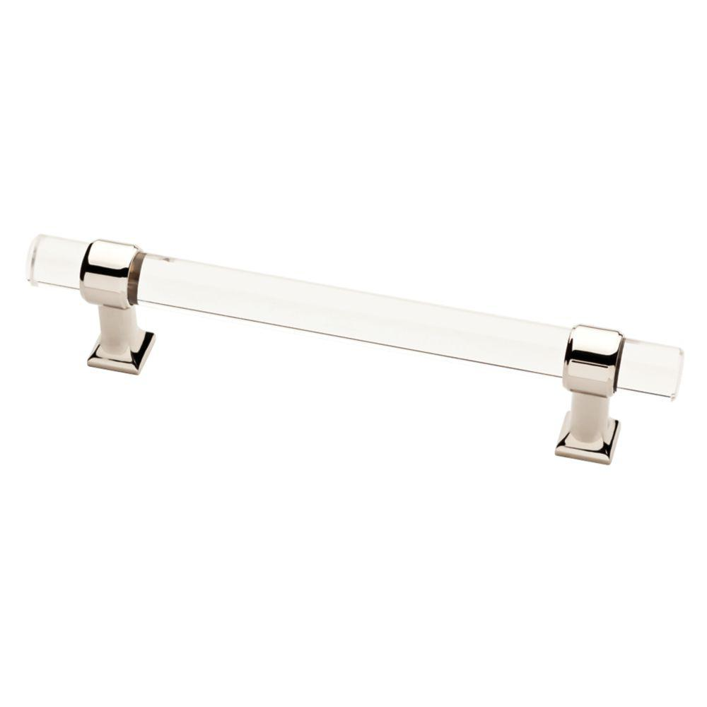 Liberty 5-1/16 in. (128mm) Polished Nickel and Clear Acrylic Bar Drawer Pull