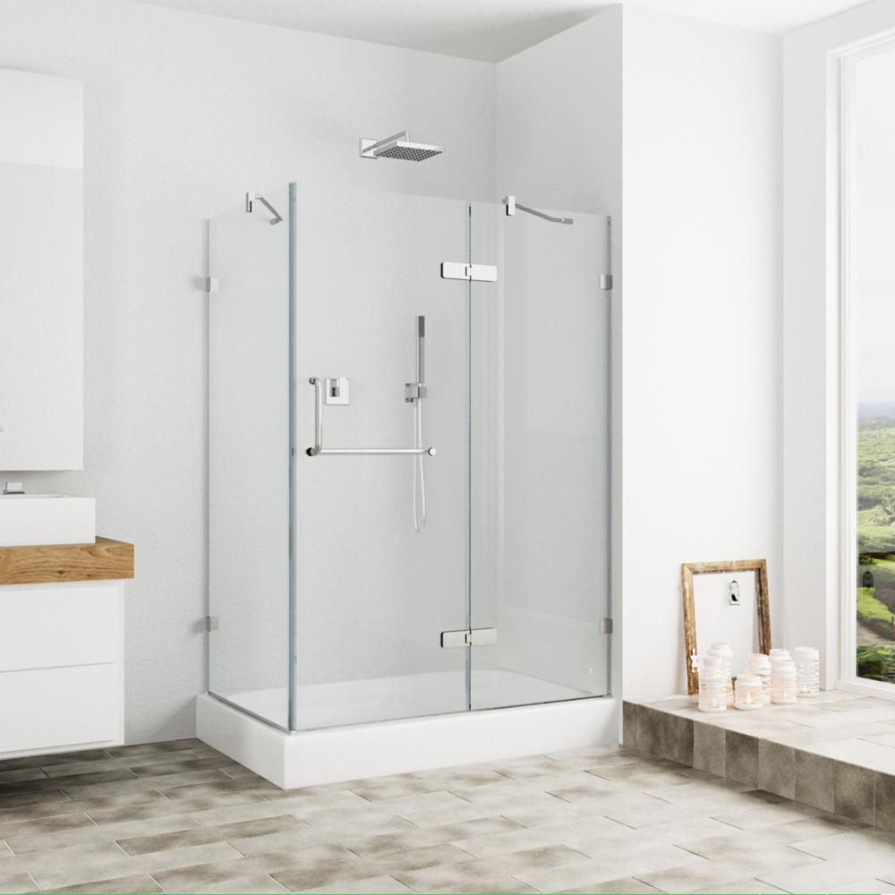 VIGO Monteray 48.125 in. x 79.25 in. Frameless Pivot Shower Door in Brushed Nickel and Clear Glass with Right Base