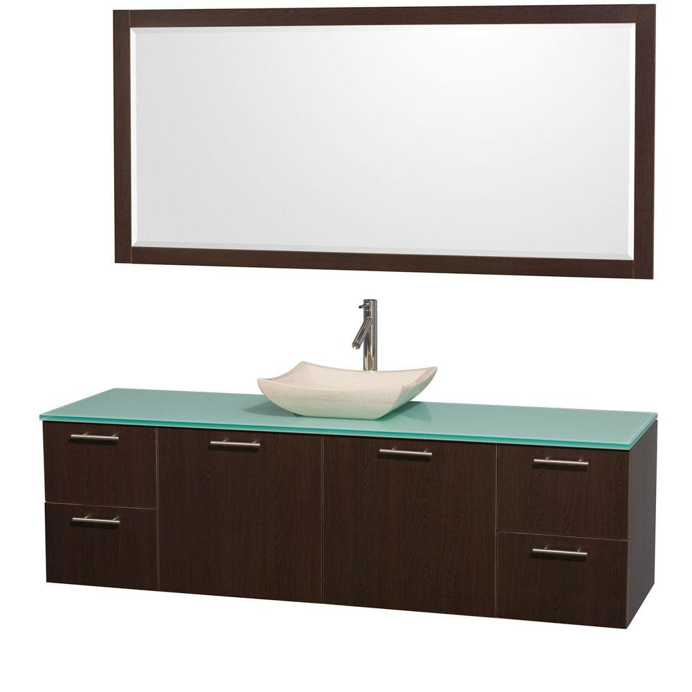 Wyndham Collection Amare 72 in. Vanity in Espresso with Glass Vanity Top in Aqua and Ivory Marble Sink