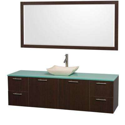 Amare 72 in. Vanity in Espresso with Glass Vanity Top in Aqua and Ivory Marble Sink