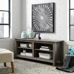 """58"""" Rustic Wood TV Stand Entertainment Center- Grey Wash"""
