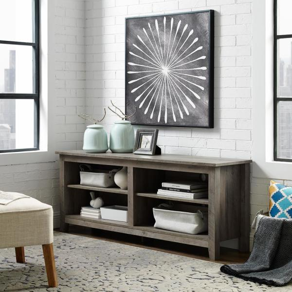 58'' Rustic Wood TV Stand Entertainment Center- Grey Wash