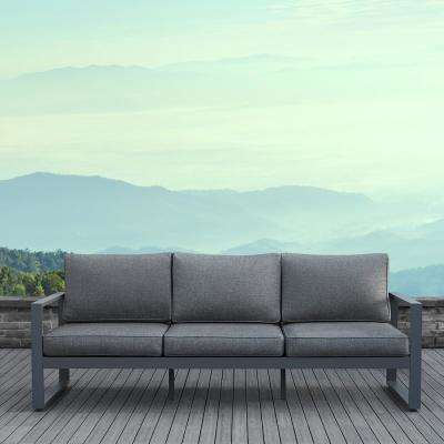 Baltic Gray 1 Piece Aluminum Outdoor Sofa with Gray Cushions