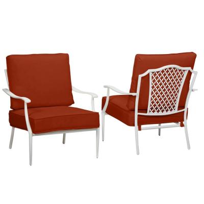 Alveranda Stackable Metal Outdoor Patio Lounge Chairs with Standard Chili Red Cushions (2-Pack)