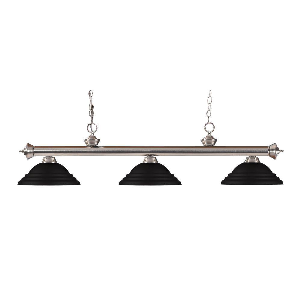 Filament Design 3 Light Brushed Nickel Billiard Light With Matte Black Steel Shade Hd Te38047 The Home Depot