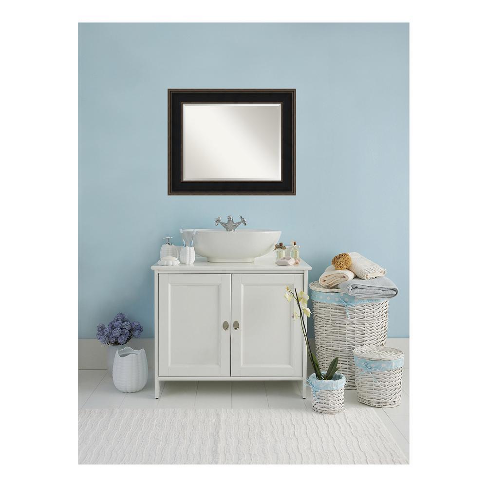 Mezzanine Espresso Bronze Wood 36 in. W x 30 in. H Single Contemporary Bathroom Vanity Mirror