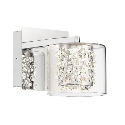 Wild Gems Chrome LED Scone with Crystal and Clear Glass Shade