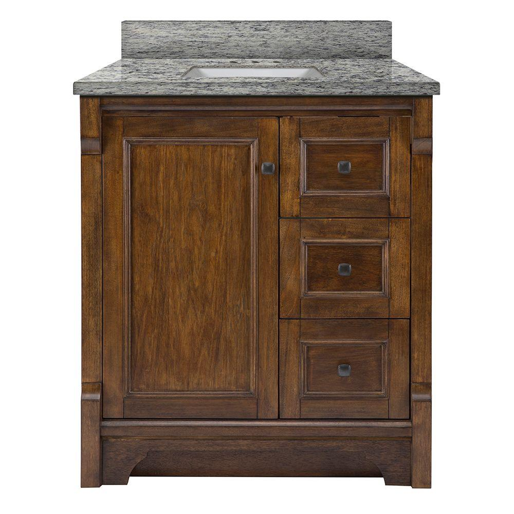 Home Decorators Collection Creedmoor 31 in. W x 22 in. D Vanity in Walnut with Granite Vanity Top in Santa Cecilia with White Sink was $949.0 now $664.3 (30.0% off)