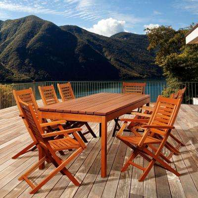 Gordon 9-Piece Eucalyptus Rectangular Patio Dining Set