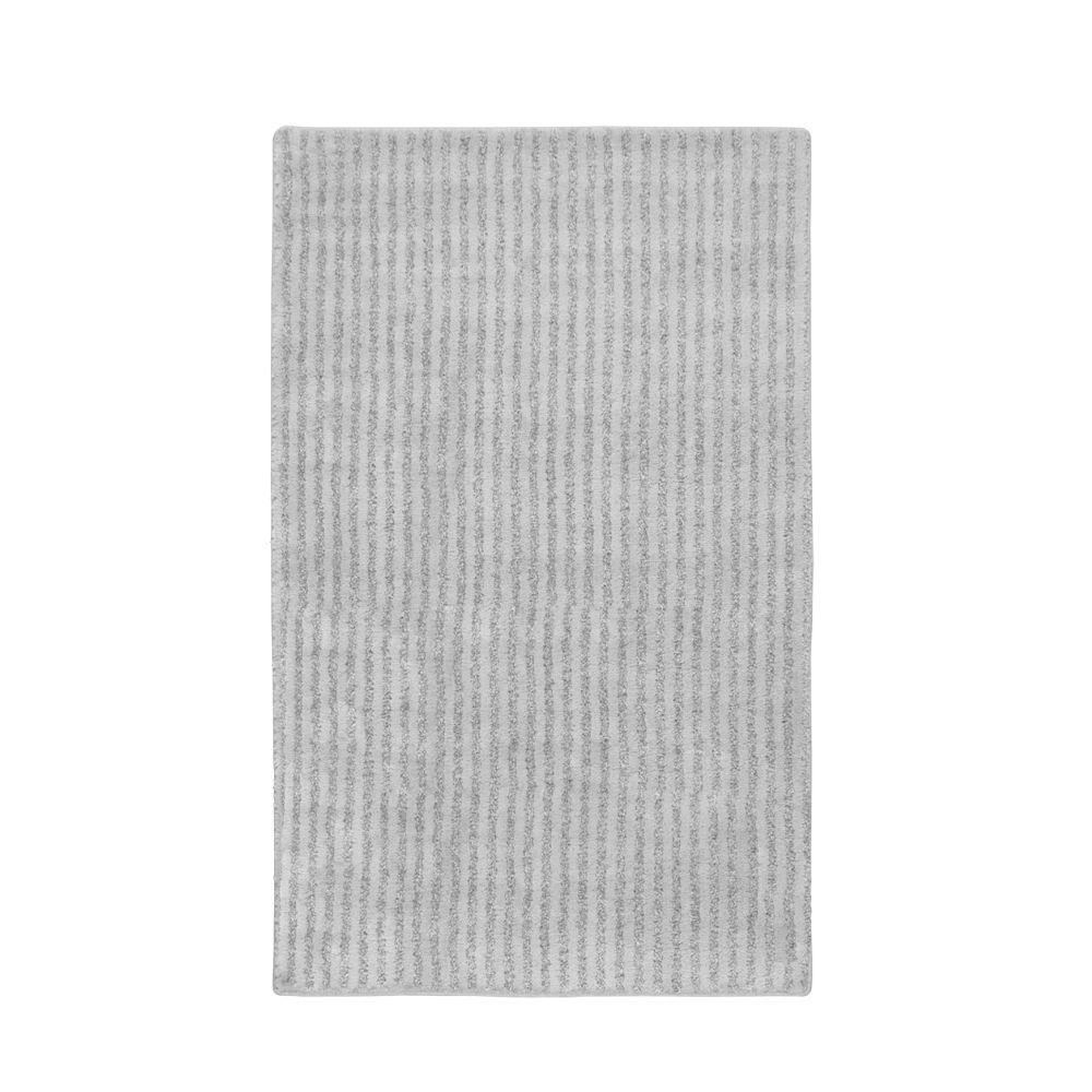 Garland Rug Sheridan Platinum Gray 30 in. x 50 in. Plush Washable Nylon Rug