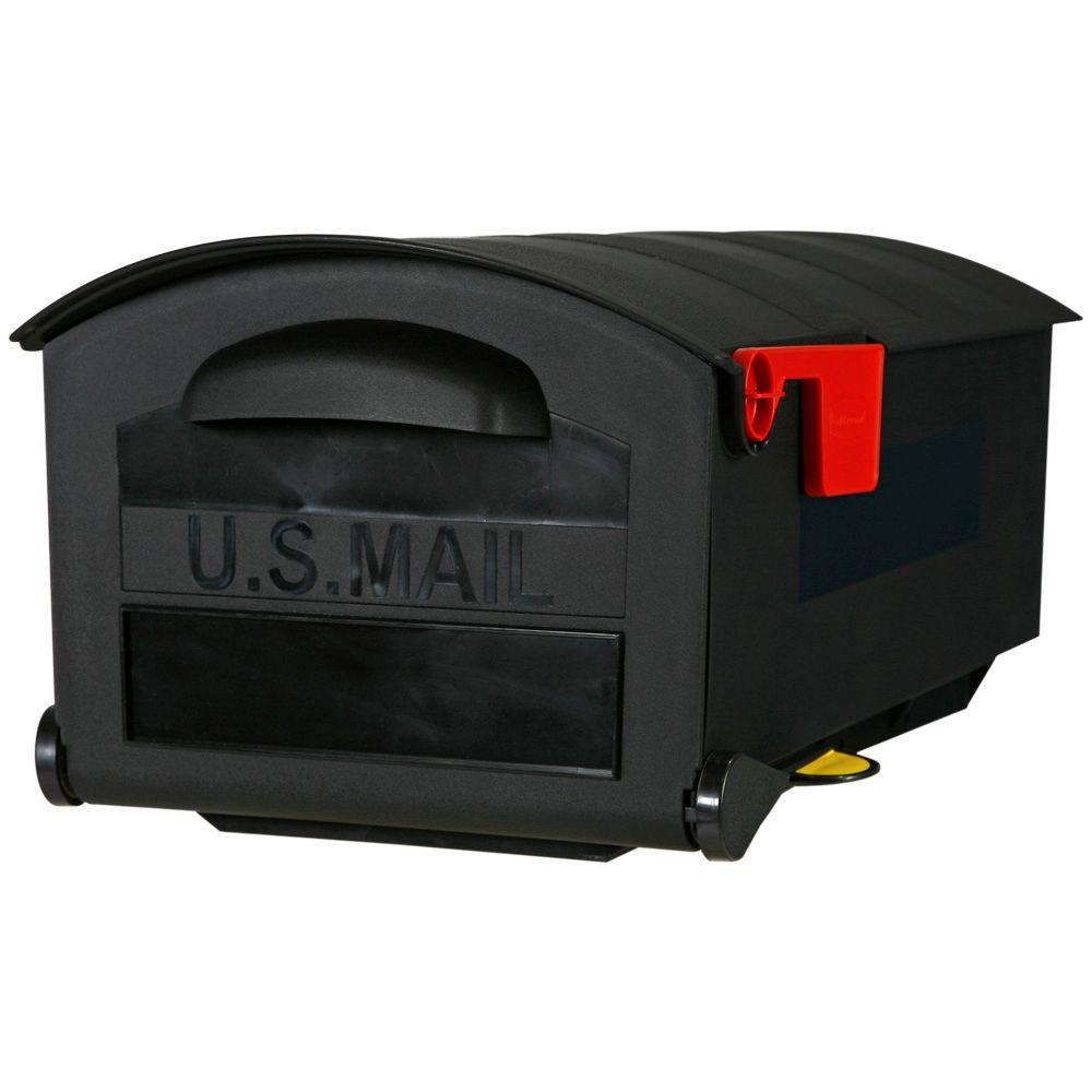 Gibraltar Mailboxes Rubbermaid Plastic Post-Mount Mailbox, Black