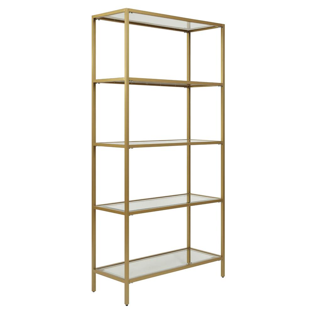 Metal and glass bookcase Brass Glass Carolina Cottage Marcello Gold Glass Shelf Bookcasecl7234ggld The Home Depot The Home Depot Carolina Cottage Marcello Gold Glass Shelf Bookcasecl7234ggld