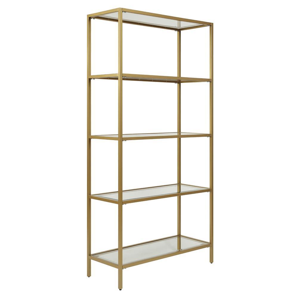 Marcello Gold Glass Shelf Bookcase