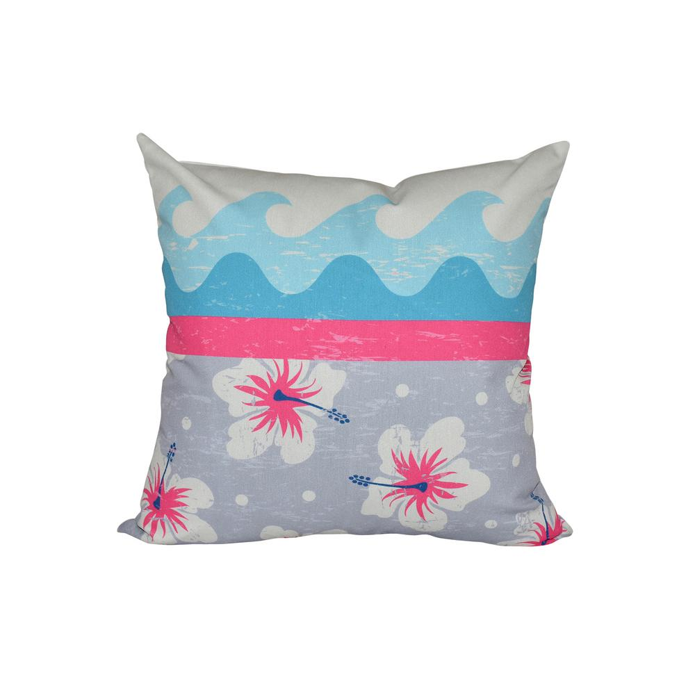 Pink Surf Sand And Sea Fl Print Pillow