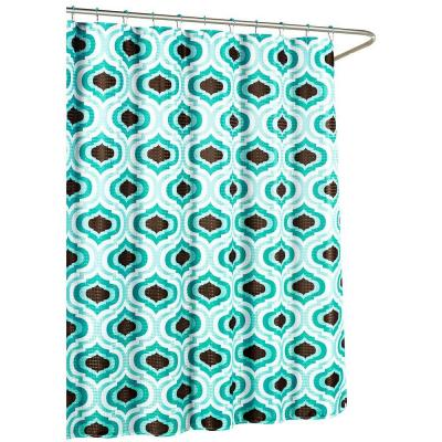 Faux Linen Textured 70 in. W x 72 in. L Shower Curtain with Metal Roller Rings in Letto Turquoise/Espresso