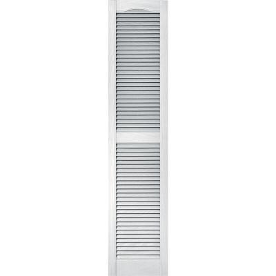15 in. x 67 in. Louvered Vinyl Exterior Shutters Pair in #001 White
