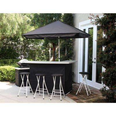 Solid Black 6-Piece All-Weather Patio Bar Set with 6 ft. Umbrella
