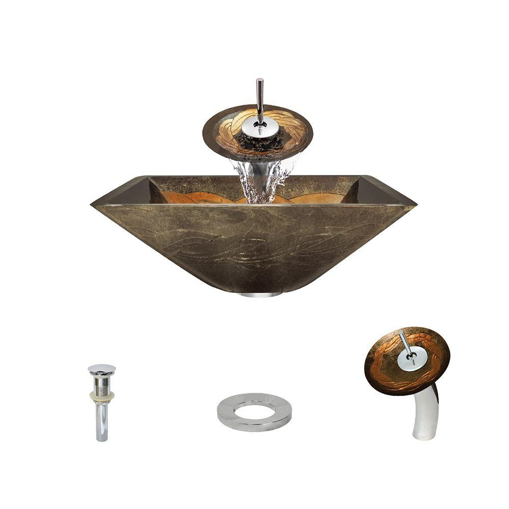 MR Direct Glass Vessel Sink in Gold and Green Foil Undert...