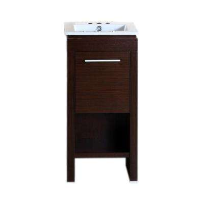 Monterrey 16 in. W x 16 in. D x 33.5 in. H Vanity in Wenge with Ceramic Vanity Top in White with White Basin