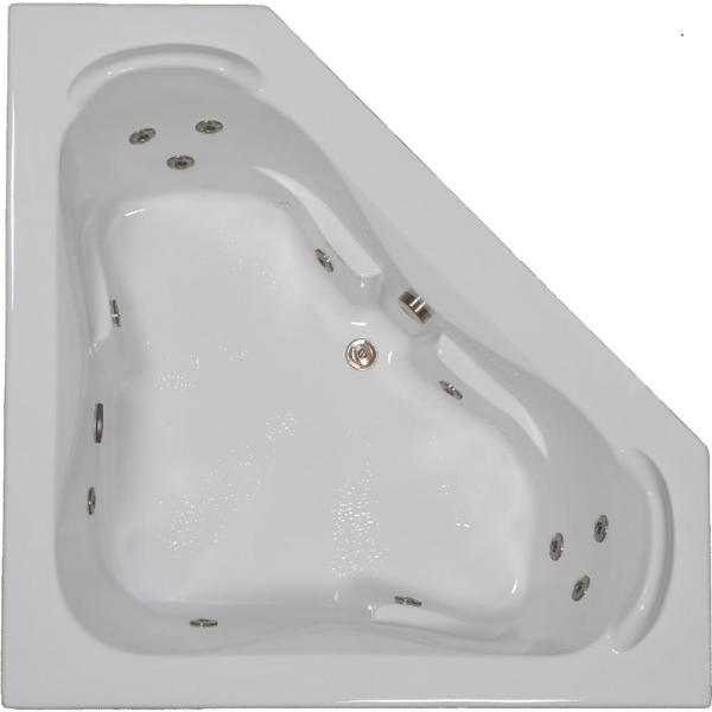 60 in. Acrylic Corner Drop-in Whirlpool Bathtub in Bone