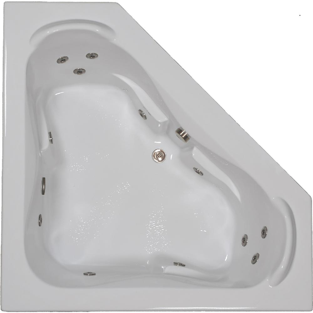 Comfortflo 60 In Acrylic Corner Drop In Whirlpool Bathtub In White W6060 Ct White The Home Depot