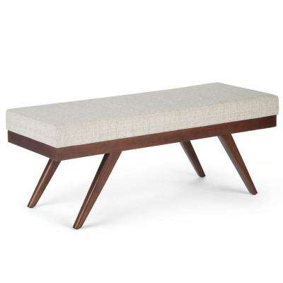 Chanelle 48 in. Mid Century Modern Ottoman Bench in Platinum Fabric