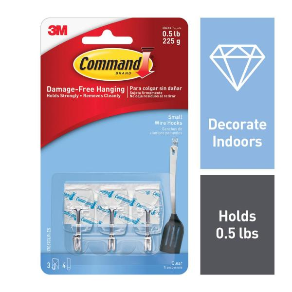Small Clear Wire Hooks with Clear Strips (3-Pack)