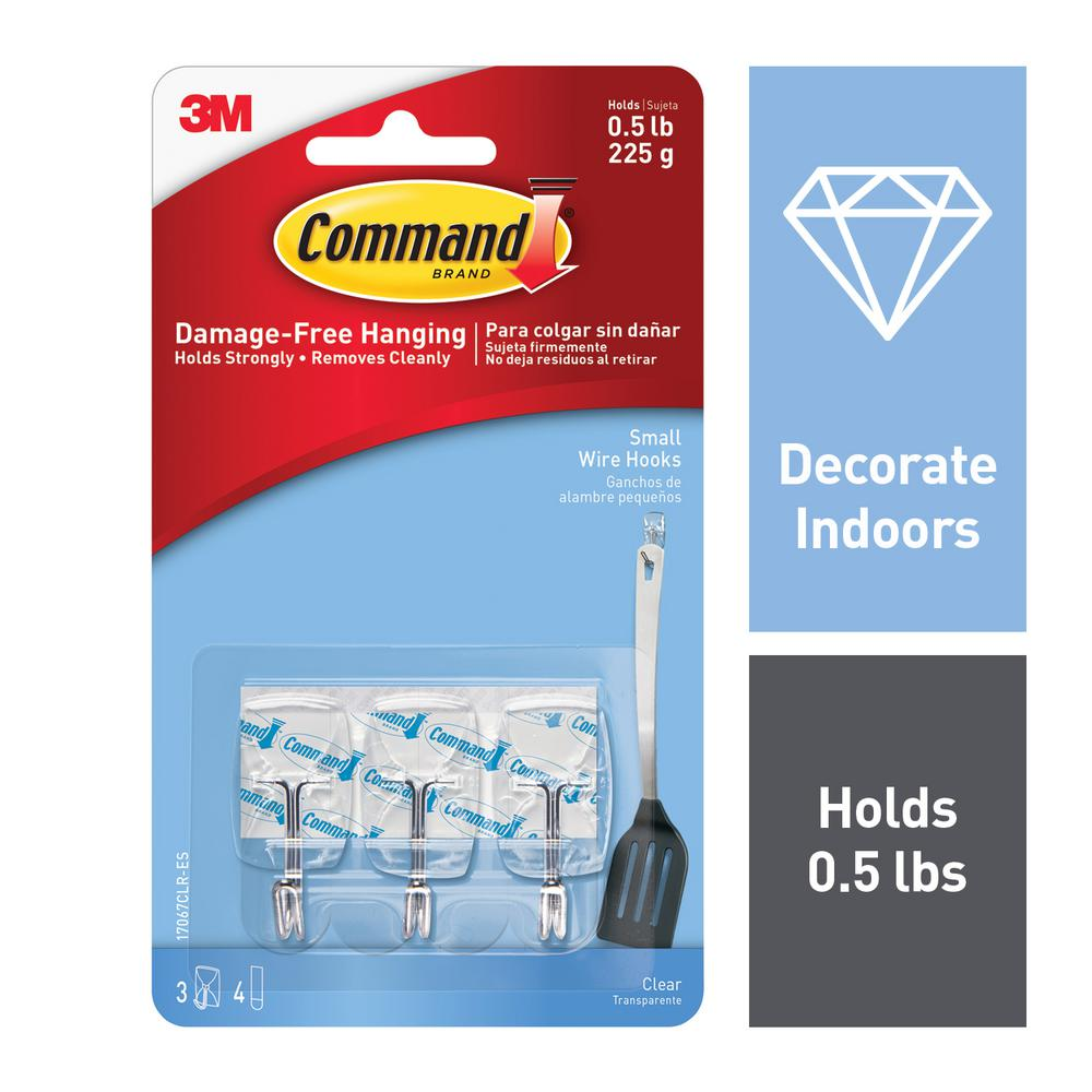 Command Small Clear Wire Hooks with Clear Strips (3-Pack)