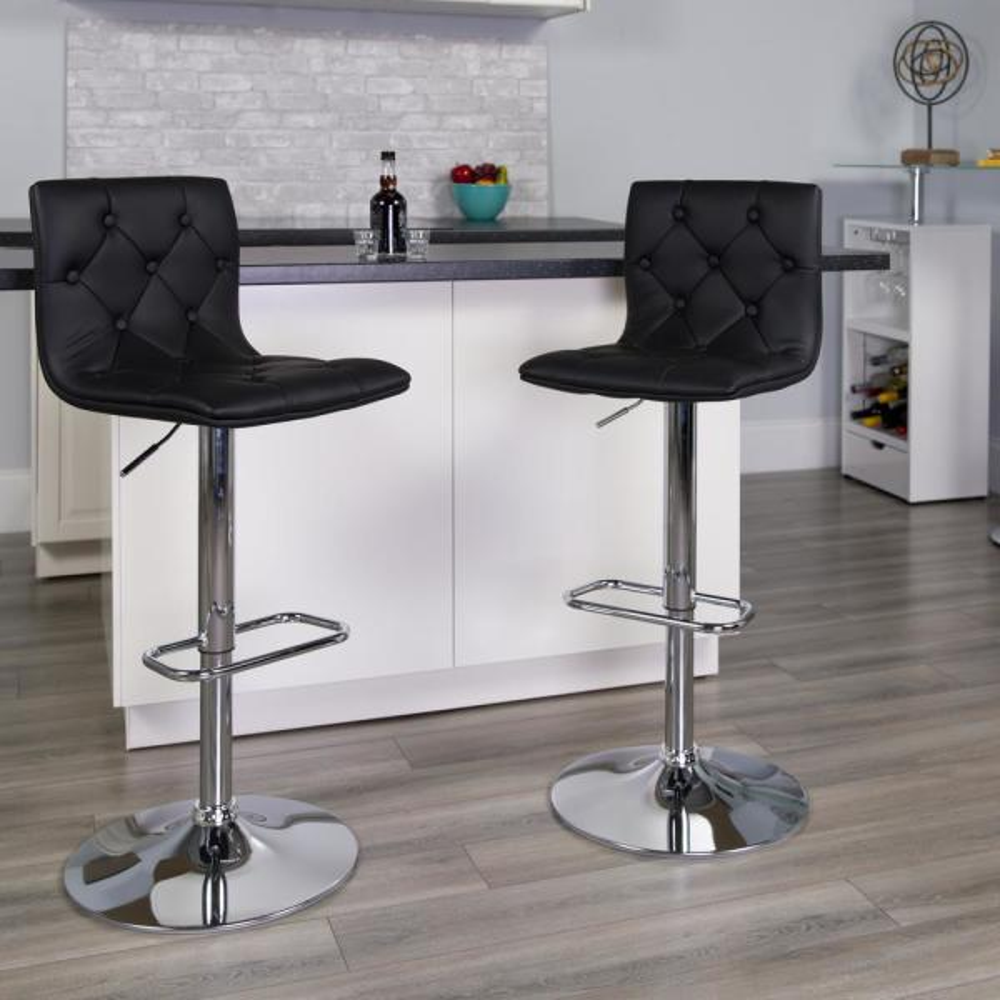 Flash Furniture 32.25 in. Adjustable Height Black Cushioned Bar Stool CH112080BK