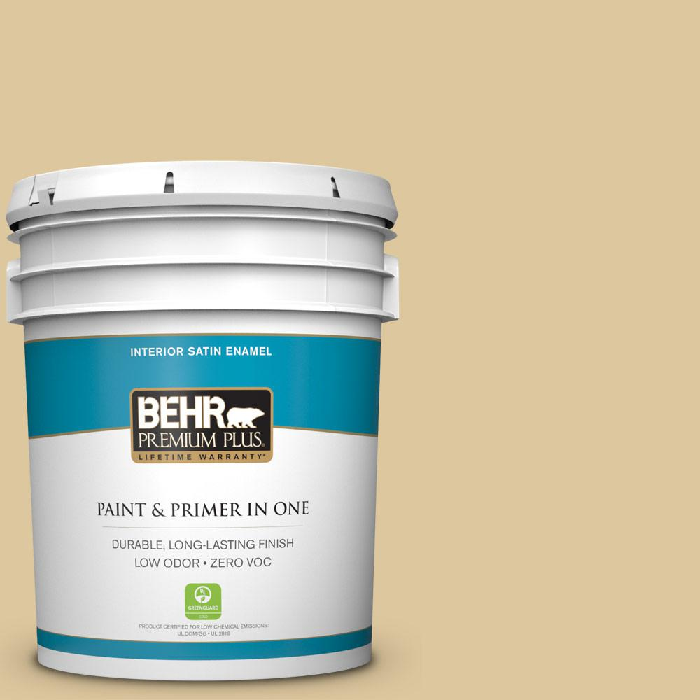 BEHR Premium Plus 5-gal. #360E-3 Winter Garden Zero VOC Satin Enamel Interior Paint